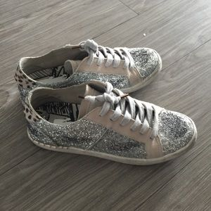 Dolce Vita Glitter Sneakers with calf hair